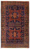"""Vintage Tribal Hand-knotted Carpet 3'8"""" x 6'3"""" Traditional Wool Rug"""