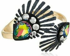 Betsey Johnson Peacock Hinged Bangle Mixed Crystal Bracelet
