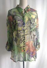 CHICO'S Silk Tropical Floral Print Sheer Roll-Sleeve Button Up Shirt Sz 3(16/18)
