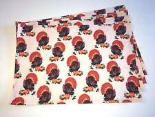 Thanksgiving Holiday Turkey Pumpkins Leaves Set of 4 Placemats