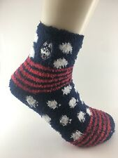 Official NCAA College UConn Huskies Striped Fuzzy Sleep House Socks Medium