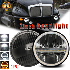 1PC DOT 7 Inch Round LED Headlight Hi-Lo Sealed Beam Halo DRL For Kenworth T2000