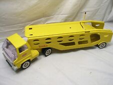Vintage Tonka Truck Car Carrier Tractor Trailer Yellow Transport Pressed Steel