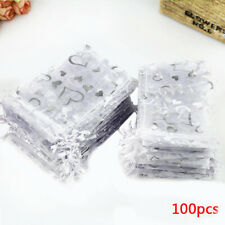 100pcs Sheer Organza Wedding Party Favor Gift Candy Bags Jewelry Pouches 7x9cm