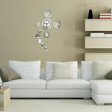 Modern 3D DIY Wall Clock Silver Mirror Surface Sticker Home Office Hotel Decor