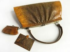 Vintage Japanese Reptile Leather Handbag Coin Purse & Mirror Set - Near Perfect!