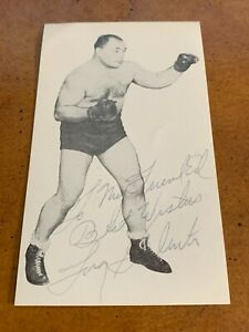 1940s Tony Galento Autographed Signed Boxing Card Postcard Size with inscription