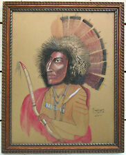 Antonio Romano - Signed & Framed Painting - Sioux Warrior - Folk Art Listed COA
