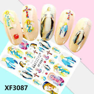 Nail Art Lace Stickers Decals Transfers Easter Jesus and Mary Cross XF3087