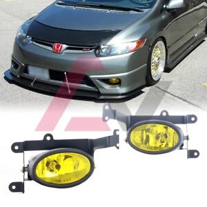 For Honda Civic Coupe 06-08 Yellow Lens Pair Bumper Fog Light+Wiring+Switch Kit