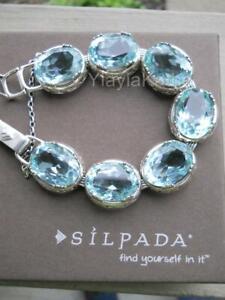 RARE 2011 Silpada Sterling Silver and Aqua Blue Lagoon Bracelet RETIRED B2093