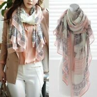 Ladies Floral Print Long Scarf Neck Wrap Beach Shawl Large Soft Stole Scarves