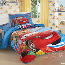 100%25 Cotton Car Quilt Doona Cover Set Lightning McQueen Red Blue Single Size Bed
