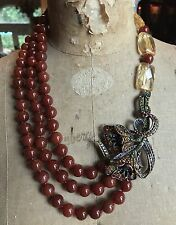 Heidi Daus Red Carnelian Beaded Asymmetrical SIDE FLOWER Necklace