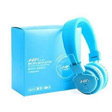 Micro SD TF Card Headset Headphone USB Audio MP3 Music Player FM Radio (Blue)