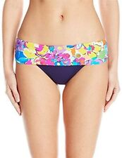Anne Cole Large Blue Floral This Buds for You Fold-over Swimsuit Bottoms L NWT