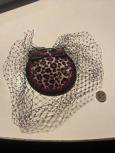 Pink Leopard Print Veiled Fascinator Burlesque