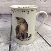Kent Pottery Curious Cat Twitchy Tail Porcelain Coffee Cup Mug
