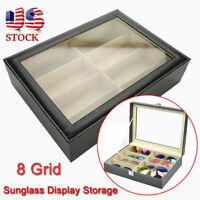 8 Carbon Fiber Eyeglass Sunglass Glasses Storage Display Grid Case Organizer Box