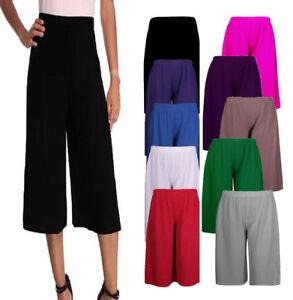 Women Elasticated Waist Plain Wide Leg Flared 3/4 Length Culottes Shorts 8-26