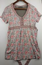 Maine New England Ladies Pink Floral Cotton Short sleeve Blouse Top Size 14