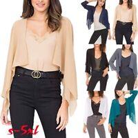 Women Open Front Top Solid Color Chiffon Coat Sheer Bolero Shrug Cardigan Croppe