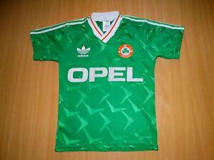 * IRELAND 1990 1991 ADIDAS OPEL football SHIRT JERSEY soccer LARGE BOYS SIZE 90