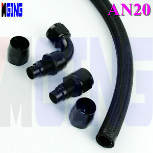 20an an20 Fuel Oil Line Hose End Fitting Line Adapter 3feet Straight + 90 Degree