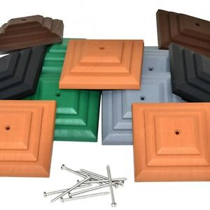 """LINIC PLASTIC FENCE POST CAPS INCL. SCREWS FOR 100mm (4"""") SQUARE WOODEN POSTS"""