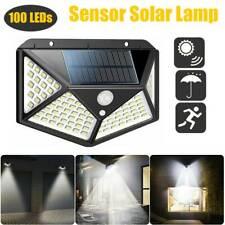 100 LED Solar Powered PIR Motion Sensor Wall Light Garden Security Flood Lamp