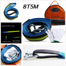 Car SUV Emergency Tow Cable Heavy Duty Road Recovery Straps 5M 8 Tons with Hooks