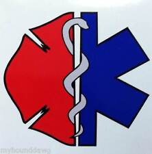 "Firefighter EMS/Maltese Decal, with MC, 3.75"", Free Shipping, EMS M/C Decal"