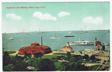 Vintage Old circa 1910 Postcard Aquarium Battery Place New York Ship Boat Unused