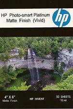 HP Photo-smart Platinum Matte Vivid~~4 x 6  Borderless Photo Paper~50ct~10 mil
