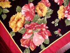 Vintage FLORAL Dramatic Scarf RED BLACK Cottage Garden Flowers ROSES Petunias