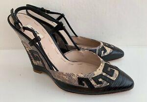 MIU MIU Black & Snakeskin Print Leather Slingback Wedge Heels Shoes 36.5 UK 3.5