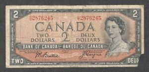 1954 DEVIL'S FACE $2.00 BC-30b VG Scarce QEII Bank of Canada OLD DF Two Dollars