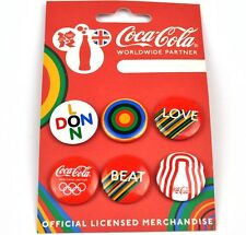Coca-Cola Coke England Pack Mit 6 Pins London Olympics Buttons Badges