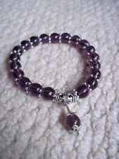 8mm Natural Amethyst Purple bead Flex Bracelet + Pouch