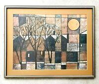 "Listed Artist: KEN LAW (1918-1988) ""Winter Sun"" Lithograph Print 1970's RARE!"