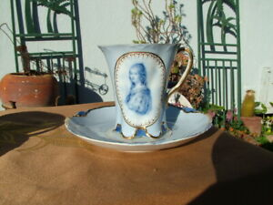"VINTAGE DRESDEN PORCELAIN PORTRAIT  3 1/4"" CUP AND SAUCER SET"