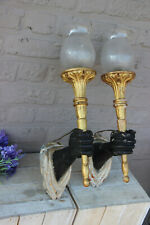 Rare PAIR 1950 Wood hand carved sconces torch castle Wall lights attr Jansen
