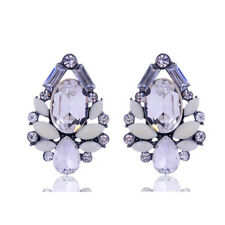 Beautiful White Crystal Cluster Tear drop Statement Earrings
