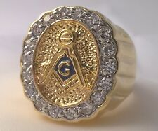 G-Filled Mens 18k gold Masonic simulated diamond Freemason ring Mason 13.2 grams