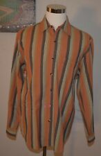 TERRITORY AHEAD MENS LARGE 100% COTTON STRIPPED LONG SLEEVE BUTTON FRONT SHIRT