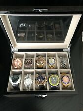 Limited Edition Luxury Mens Ladies 10 Watch Lot Including Graphite Display Box