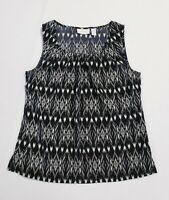 Chicos Womens Tank Top Size 0 Sleeveless Black White Ikat Satin Scoop Neck Shirt