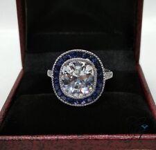 Antique 5 Ct Large Cushion Cut Vintage Engagement Art Deco Ring 925 Silver