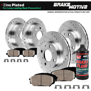 For 2012 2013 - 2016 Fiat 500 Front+Rear Drill Slot Brake Rotors & Ceramic Pads