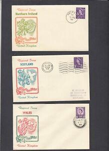 1958 Regionals 3d set of 6 unusual illustration matching FDCs. Cat £125
